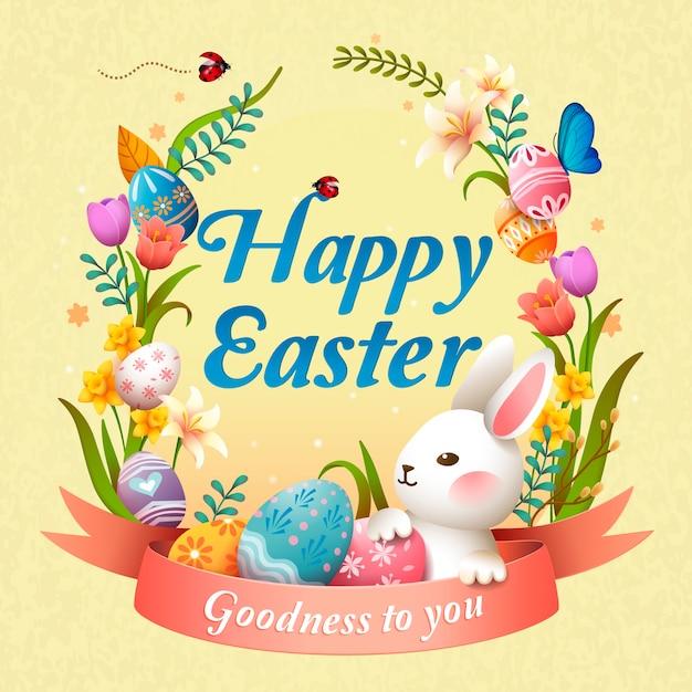 Счастливой пасхи иллюстрация с кроликом, цветочной корзиной и яйцами, светло-желтый фон Premium векторы