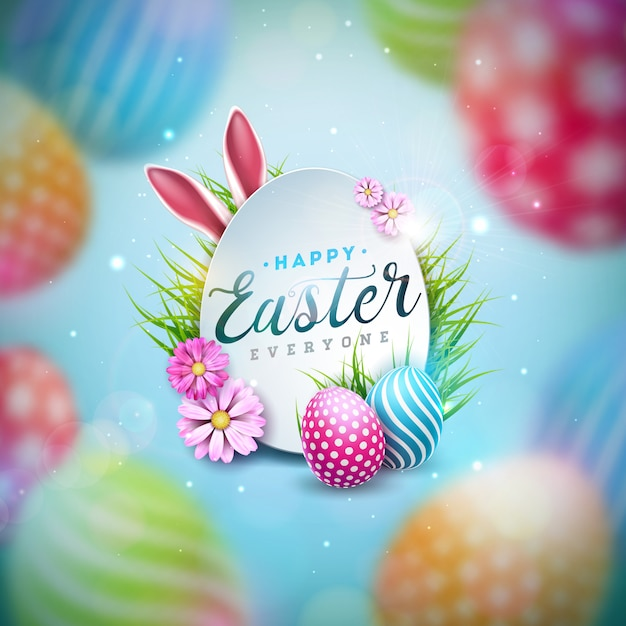 Happy easter illustration with colorful painted egg and spring flower o Free Vector