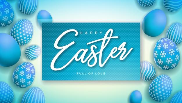 カラフルな塗装卵とハッピーイースターのイラスト 無料ベクター