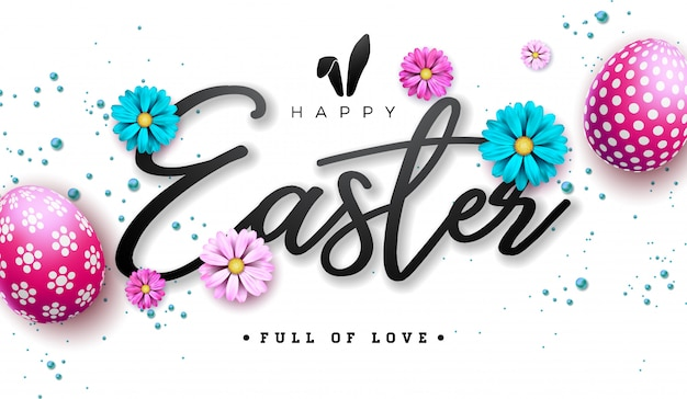 Happy easter illustration with red painted egg and flower Premium Vector