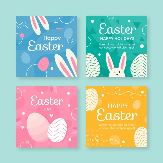 Happy easter instagram post collection Free Vector