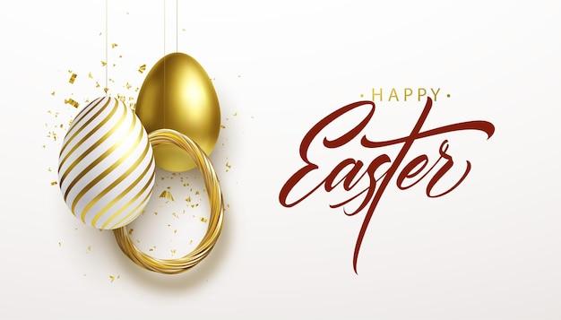 Счастливой пасхи надписи фон с 3d реалистичный золотой блеск украшенные яйца, конфетти. векторная иллюстрация eps10 Бесплатные векторы