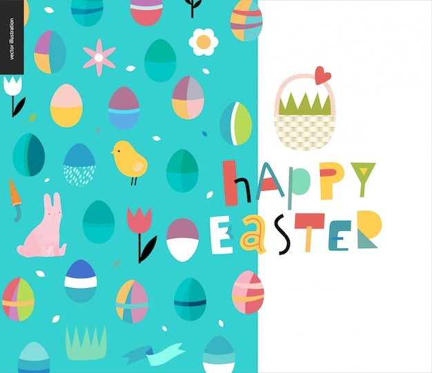 Happy easter lettering and pattern Premium Vector