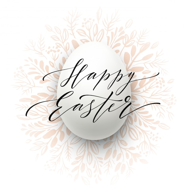 Happy easter lettering on the watercolor wreath with eggs Premium Vector