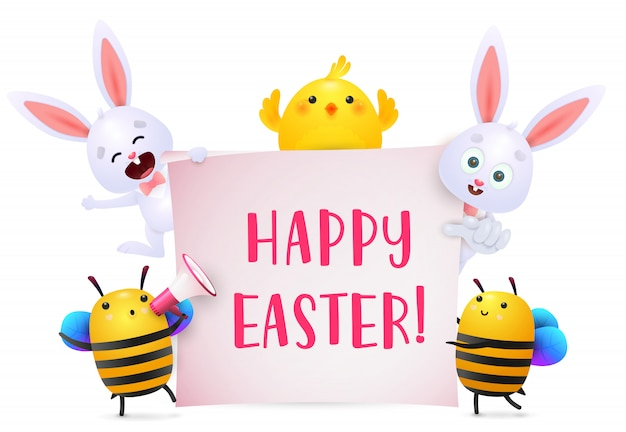 Happy easter lettering with bunnies, chicken and bees characters Free Vector