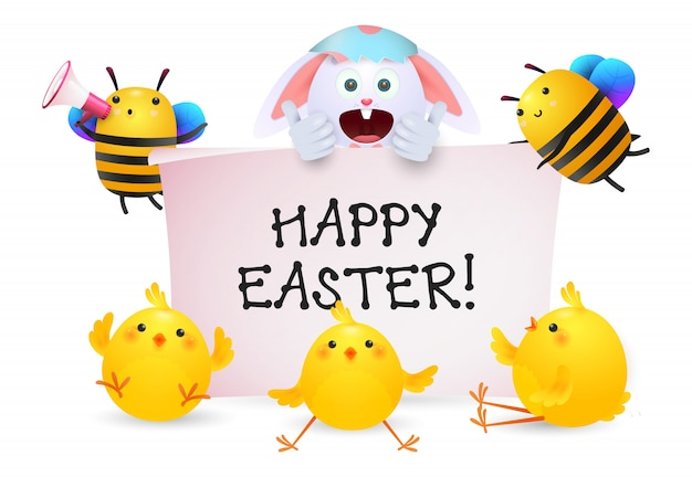 Happy easter lettering with rabbit, bees and chicks characters Free Vector
