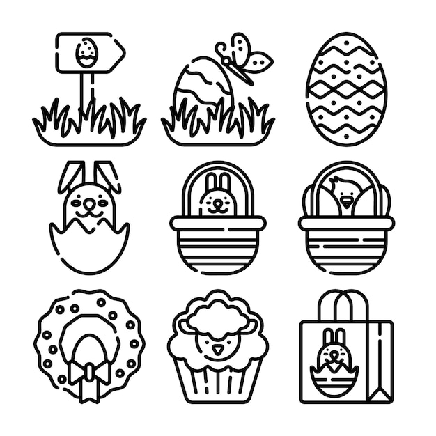 Happy easter line icons big set. vector set of modern thin outline icons for website and mobile. Premium Vector