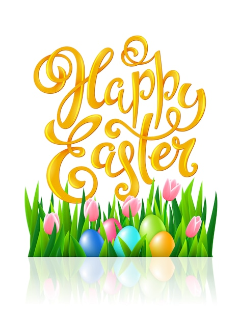 Happy easter poster Premium Vector