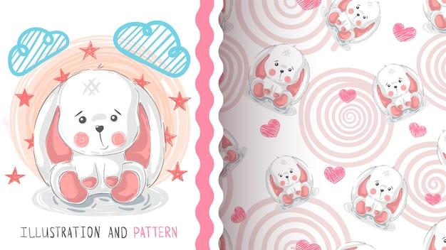 Happy easter rabbit seamless pattern Premium Vector
