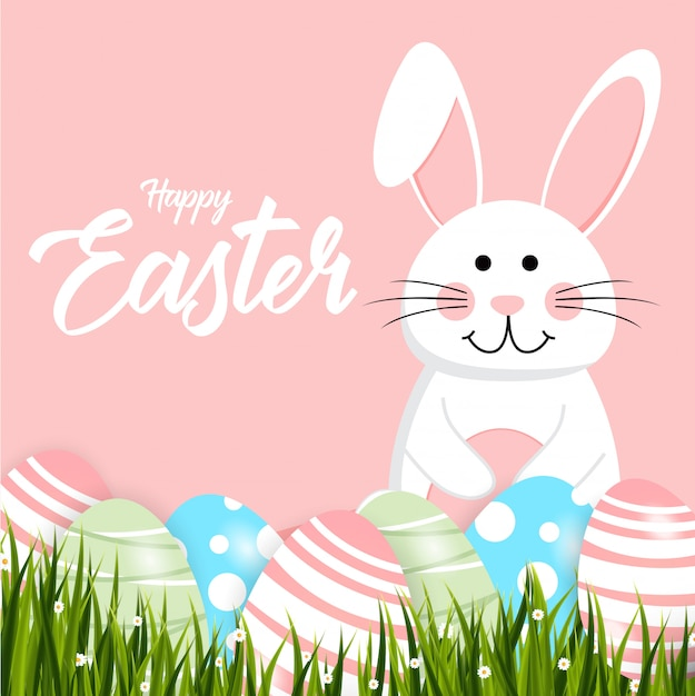 Happy easter rabbit white cute bunny Premium Vector