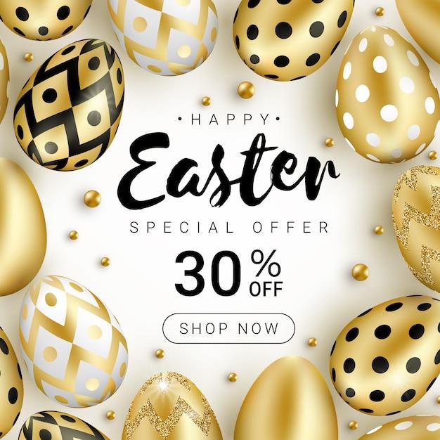 現実的な輝きの黄金の卵と白い背景で隔離の金のビーズで飾られたハッピーイースター販売バナーのコンセプト。 Premiumベクター