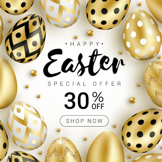 Happy easter sale banner concept decorated with realistic shine golden eggs and gold beads isolated on white background. Premium Vector