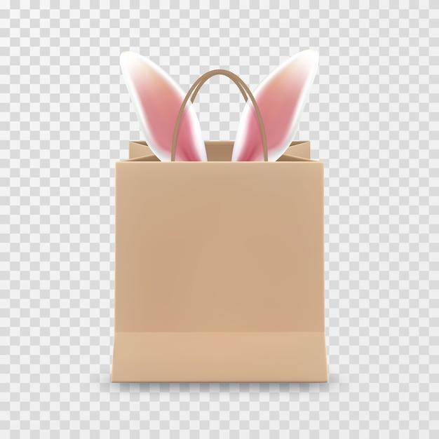ハッピーイースターセール。透明な背景に分離されたハンドル付きのリアルな紙の買い物袋。 Premiumベクター