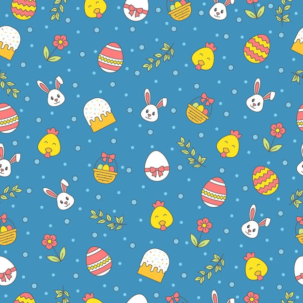 Happy easter seamless pattern with bunny, cake, egg, flower, branch, chicken on blue background. greeting, gift wrapping paper and wallpaper  . Premium Vector