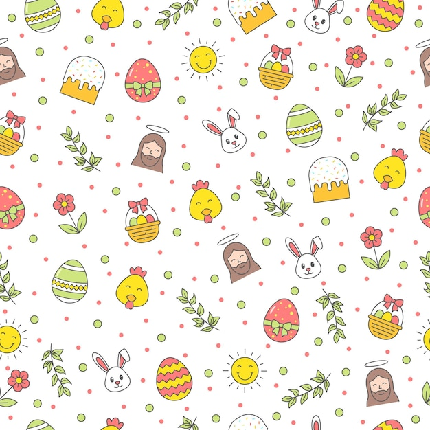 Happy easter seamless pattern with bunny, jesus christ, egg, flower, branch, chicken on white background. greeting, gift wrapping paper and wallpaper Premium Vector