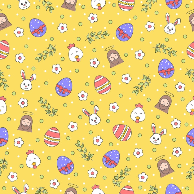 Happy easter seamless pattern with bunny, jesus christ, egg, flower, branch, chicken on yellow background. greeting, gift wrapping paper and wallpaper  . Premium Vector