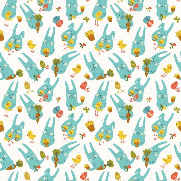 鶏卵ニンジンと花を保持している面白い青いウサギとハッピーイースターシームレスパターン 無料ベクター