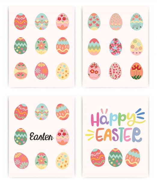 Happy easter. set of easter. spring holiday. Premium Vector