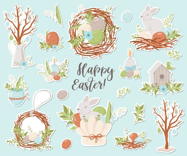 Счастливой пасхи коллекция наклеек. иллюстрации для дизайна ежедневников, блокнотов и др. Premium векторы