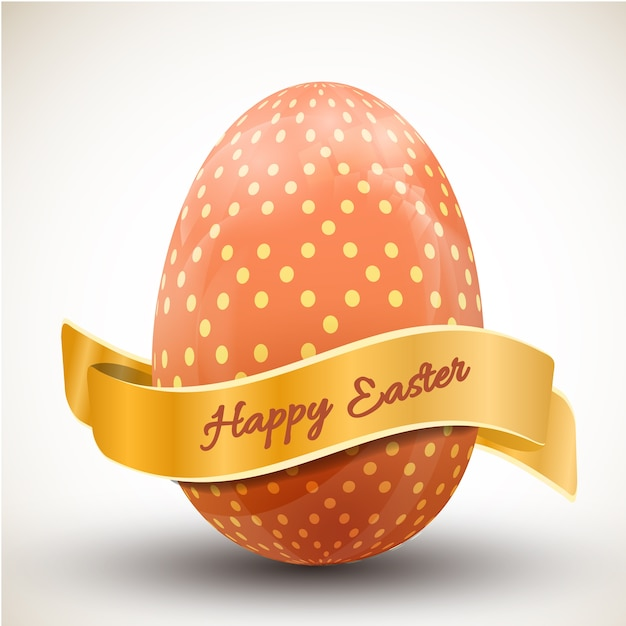 Happy easter with big orange polka dot egg and ribbon realistic vector illustration Free Vector