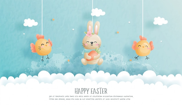 Happy easter with cute bunny and ester eggs in paper cut style  illustration. Premium Vector