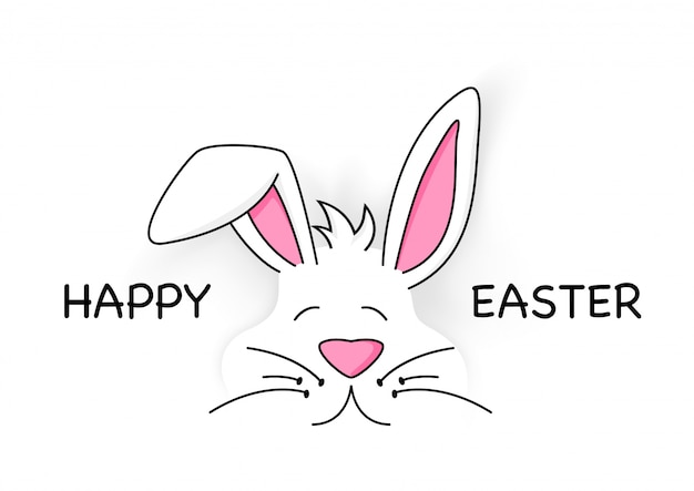 Happy easter with cute white bunny Premium Vector