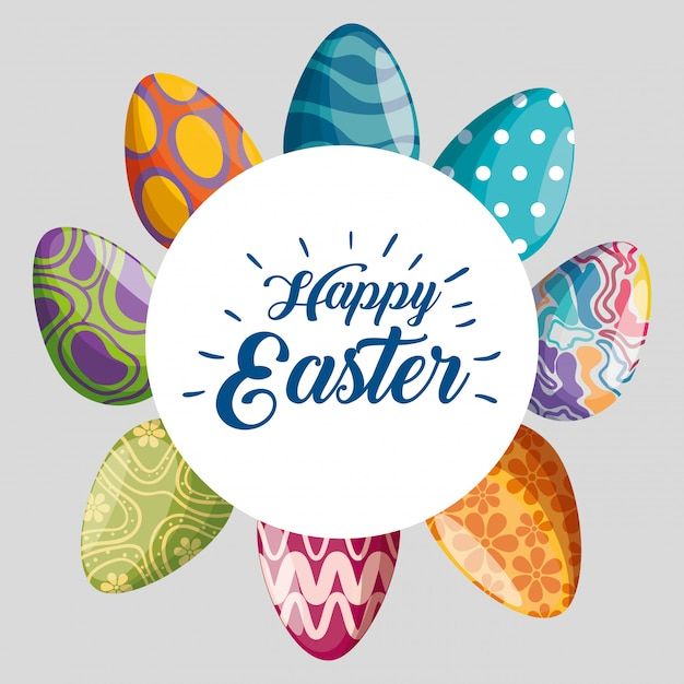 Happy easter with eggs decoration Free Vector