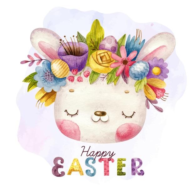 Счастливой пасхи с рисованной надписью и милый кролик с венком Premium векторы