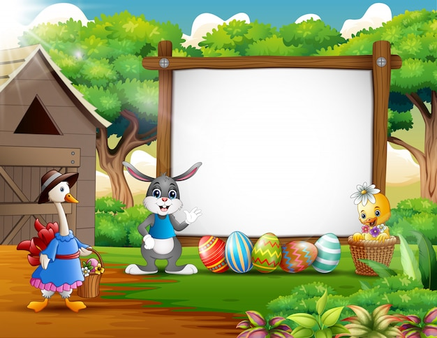 Happy easter with wooden blank sign Premium Vector
