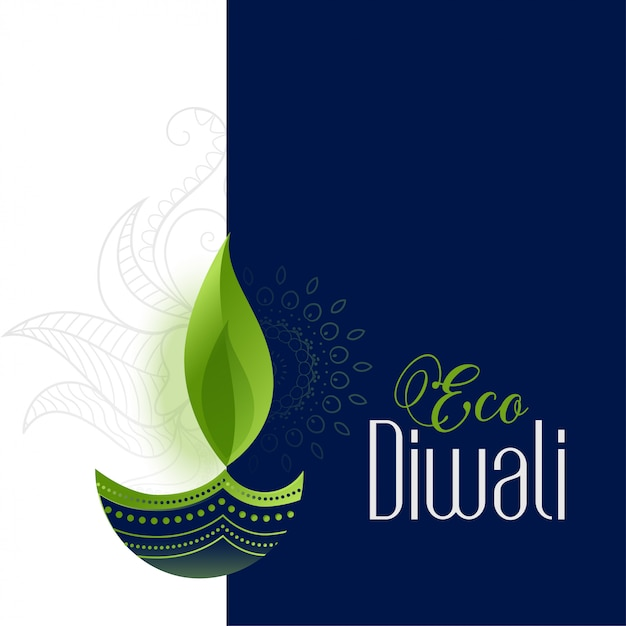 Happy eco and safe diwali Free Vector