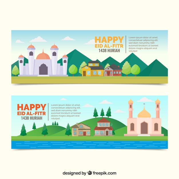 Wonderful Modern Eid Al-Fitr Decorations - happy-eid-al-fitr-banners-in-flat-design_23-2147634847  Pic_974476 .jpg