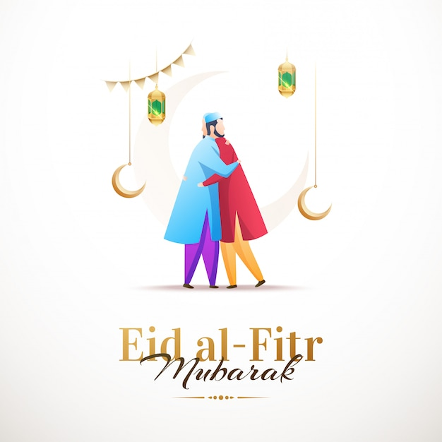 Happy eid al-fitr mubarak, clean design with characters Premium Vector