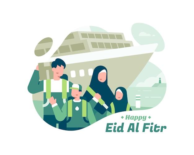 船の輸送の図を使用してイスラム教徒の家族とハッピーイードアルfitr Premiumベクター