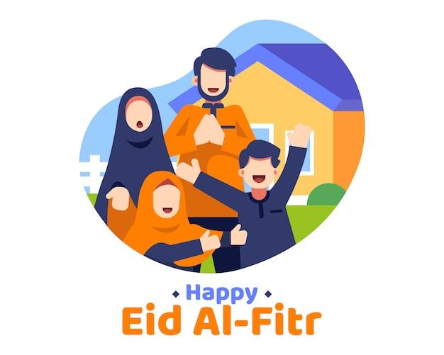 Happy eid al fitr фон с иллюстрацией мусульманской семьи Premium векторы