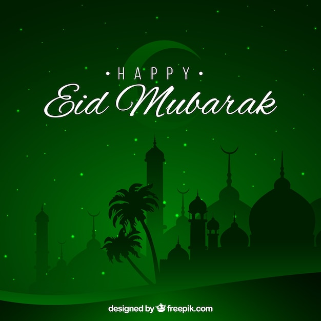 Happy eid mubarak background green design Vector – Eid Card Templates