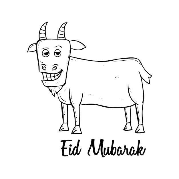 Happy eid mubarak a holy muslim festival with doodle style Premium Vector