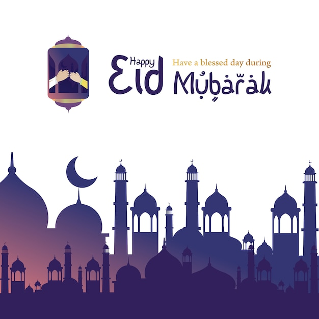 Happy eid mubarak for muslims, islamic greeting Premium Vector