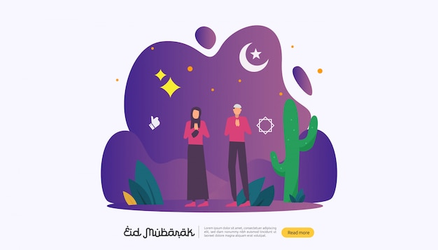 Happy eid mubarak with people character for web landing page Premium Vector