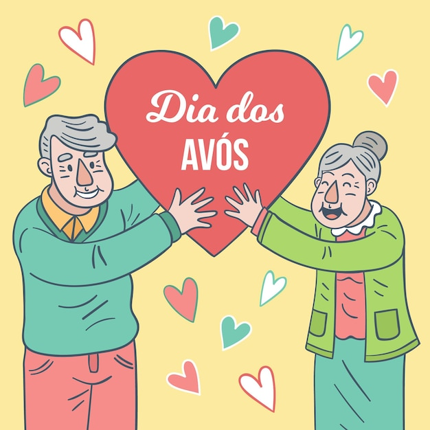Happy elder couple holding a heart shape Free Vector