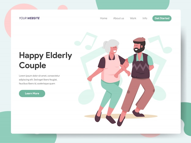 Happy elderly couple dancing together banner for landing page Premium Vector