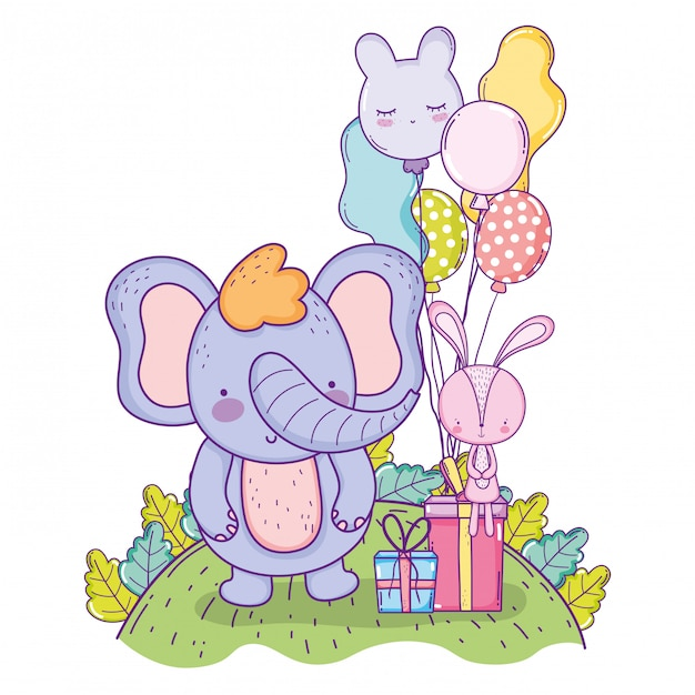 Happy elephant birthday with balloons and presents gifts Premium Vector