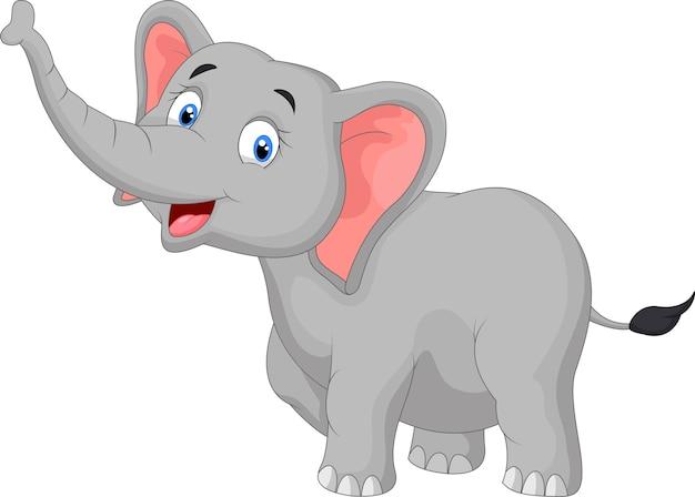 Happy elephant cartoon Premium Vector