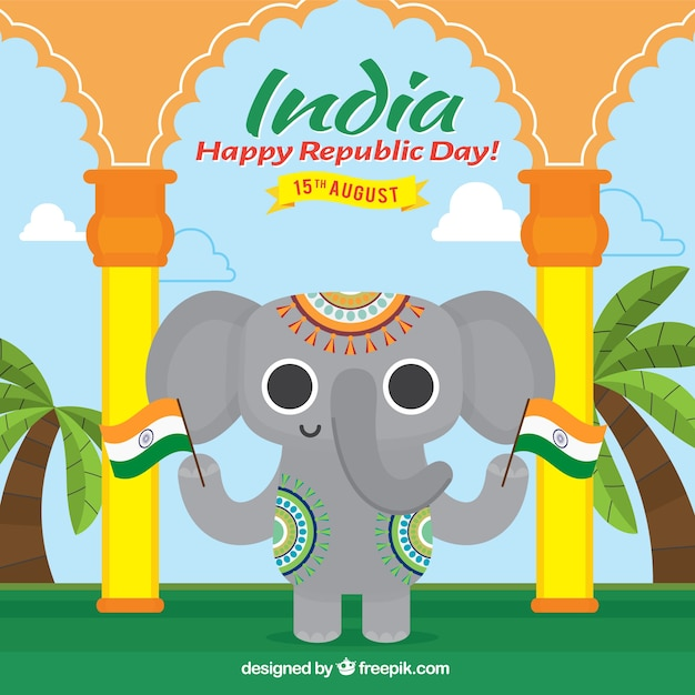 Happy elephant with flags for indian republic day