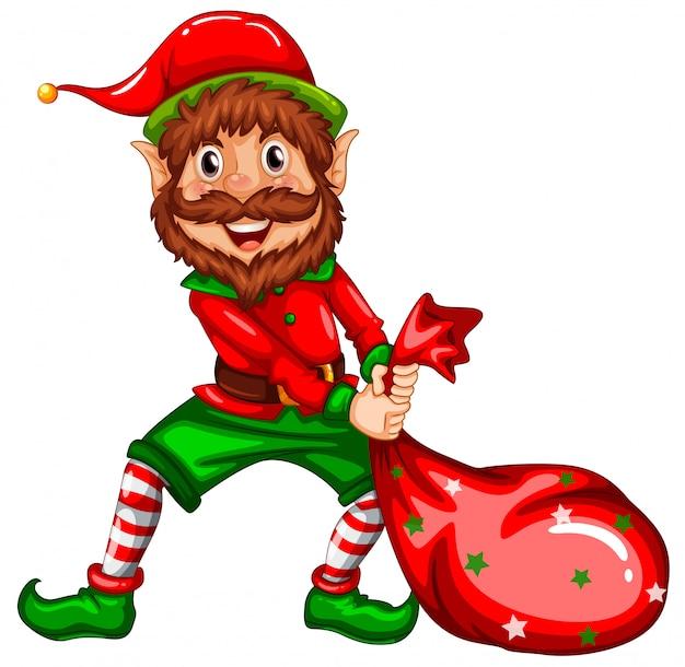 Happy elf carry sack Premium Vector