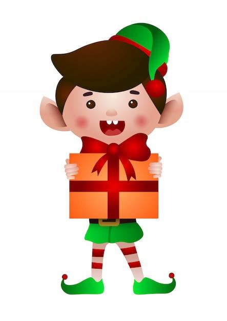Happy elf holding christmas present illustration Free Vector