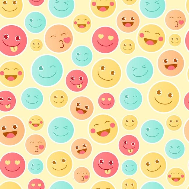 행복 한 이모티콘 패턴 템플릿 무료 벡터