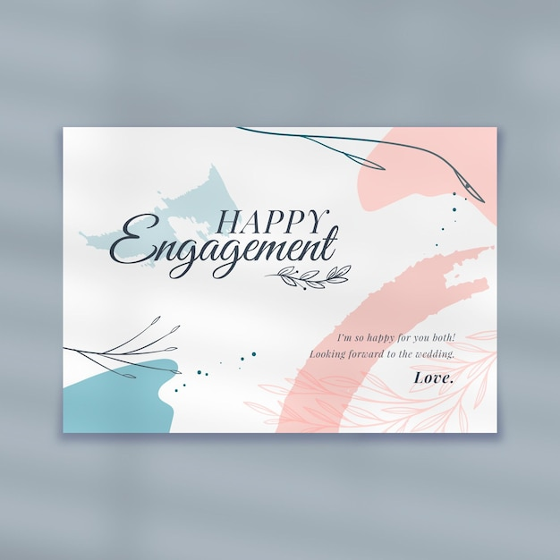 Happy engagement card template Free Vector
