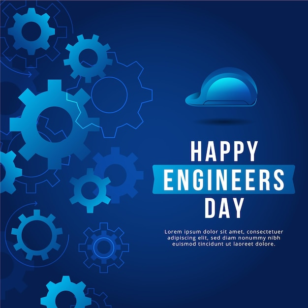 Happy engineers day with gear wheels and hard hat Free Vector