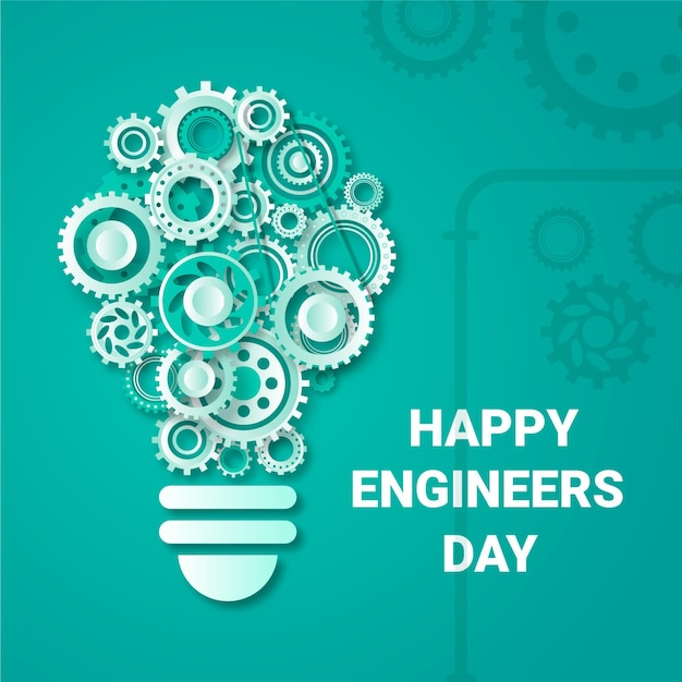Happy engineers day with gear wheels Free Vector