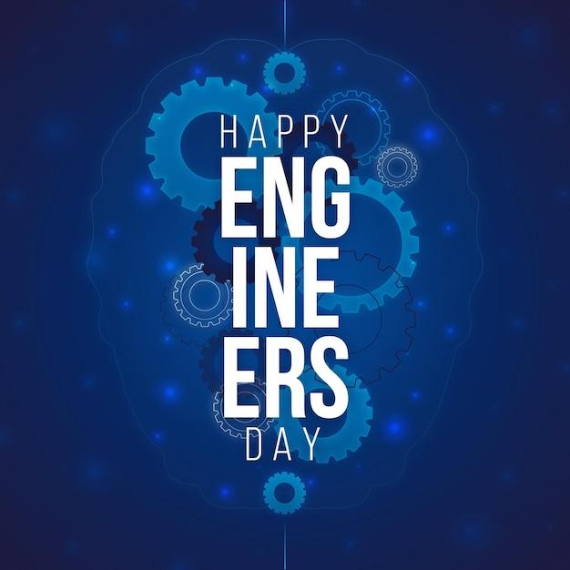 Happyengineers day with gears Free Vector